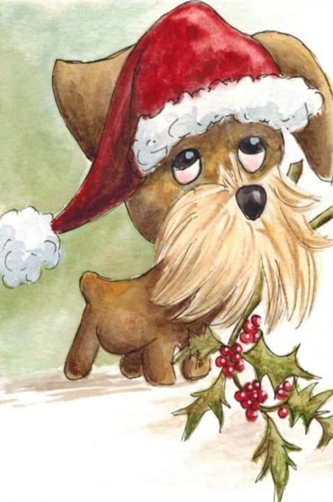 Soulful Dog in Xmas Hat Watercolor - Fiona MacKay