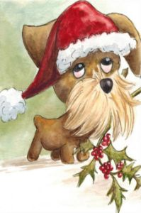 Soulful Dog in Xmas Hat Watercolor
