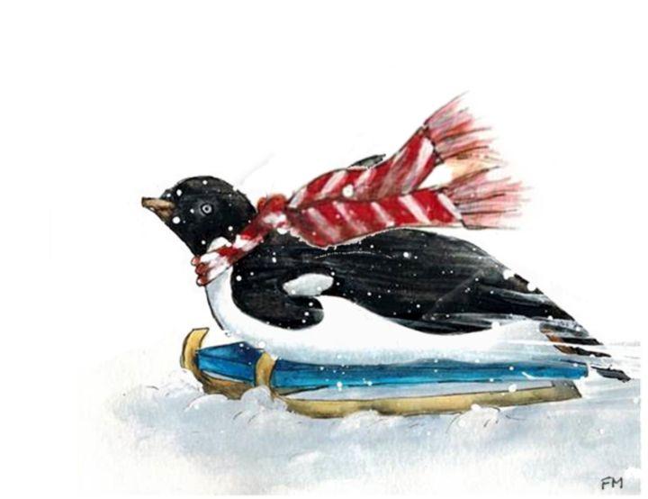 Tobogganing Penguin Watercolor - Fiona MacKay