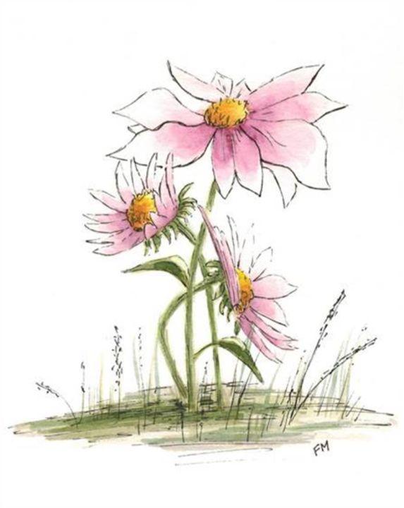 Three Pink Flowers Watercolor - Fiona MacKay