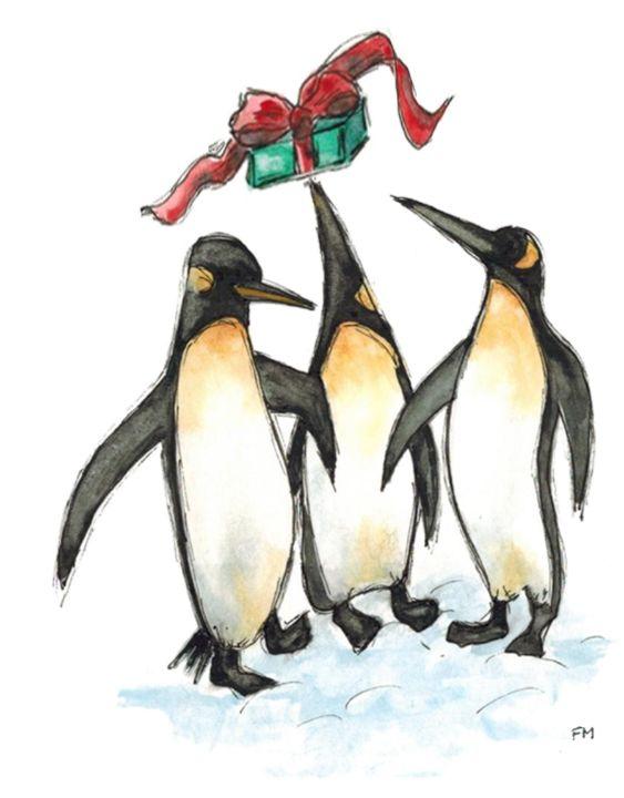 Three Penguins with Christmas gift - Fiona MacKay