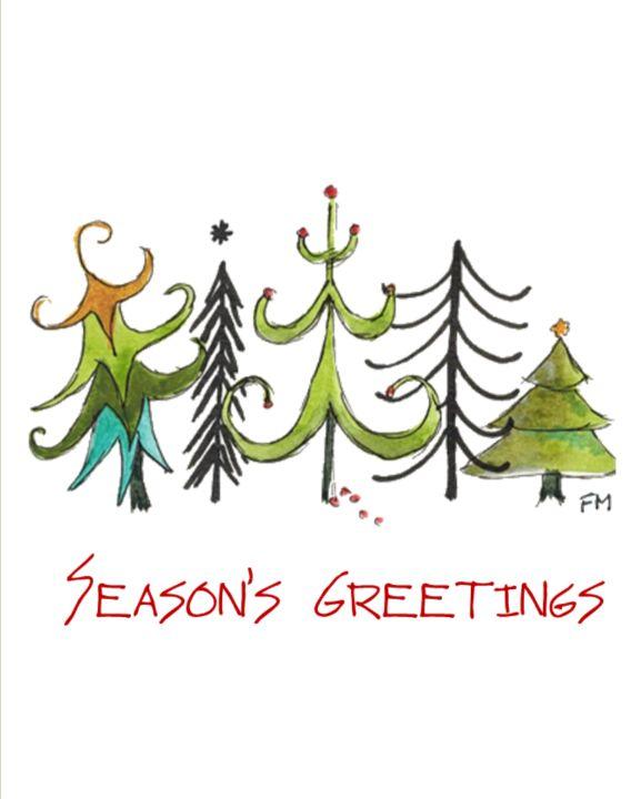 5 Abstract Christmas Trees - Fiona MacKay