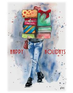 Girl in Jean carrying Gifts