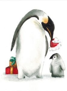 Mama Penguin with baby & Xmas gifts
