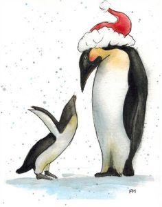Mama Santa with young Penguin