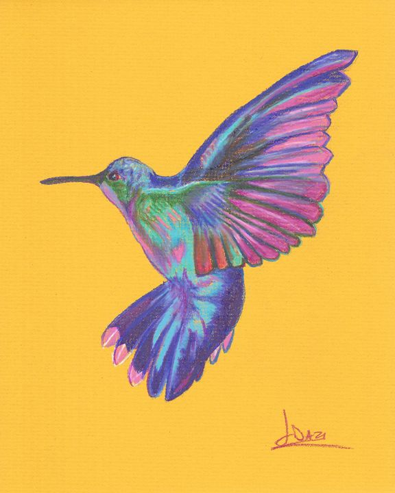 Hummingbird at the butterfly garden. - The Art of Yohan Daza