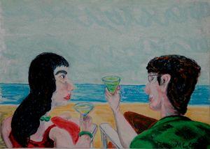 Un verre à la plage à Deauville