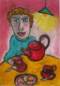 Femme en bleu et théière rouge