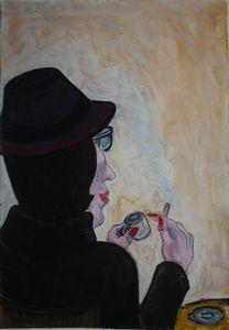 Femme en noir café et cigare