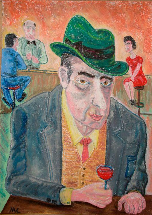 Verre de rouge et chapeau vert - Mathieu Correa de Sa