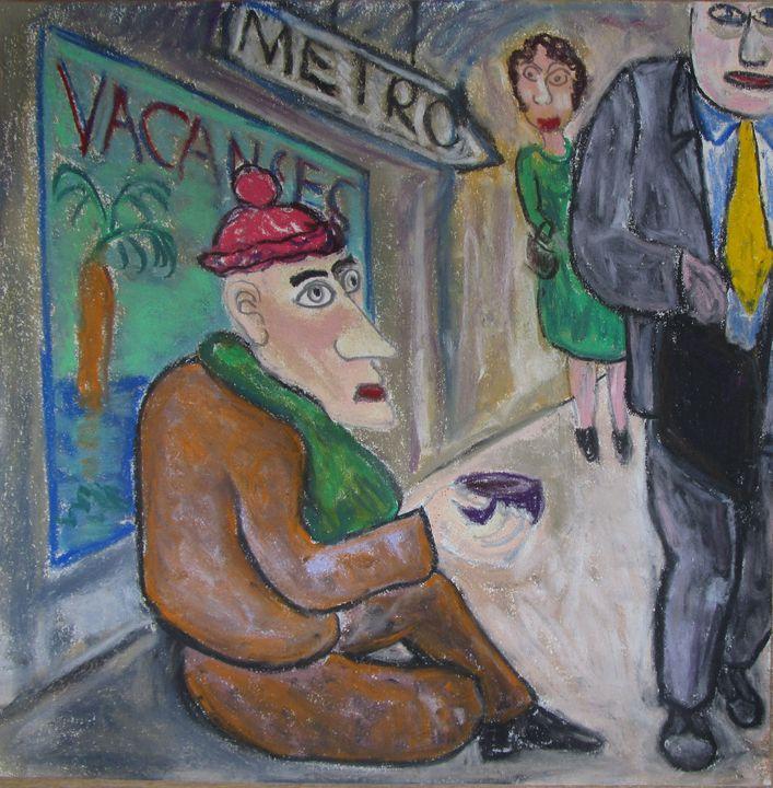 Paris: beggar in the métro - Mathieu Correa de Sa