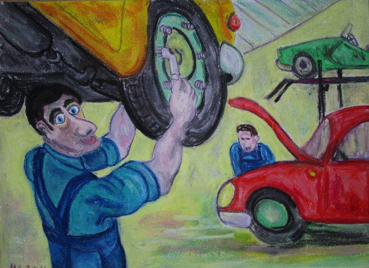 Le mécanicien  dans le petit garage - Mathieu Correa de Sa