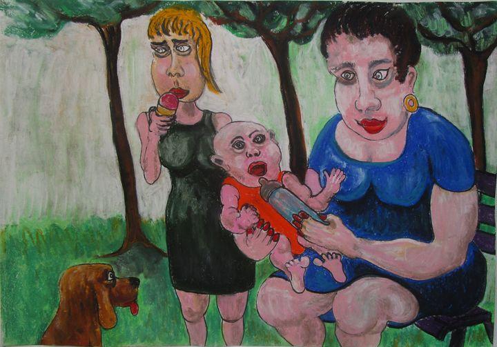 Maman et bébé au parc - Mathieu Correa de Sa
