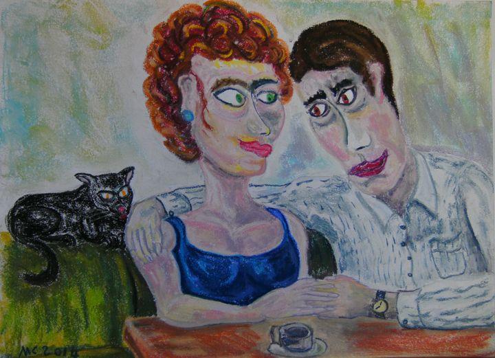 Couple au café Gare de Lyon - Mathieu Correa de Sa