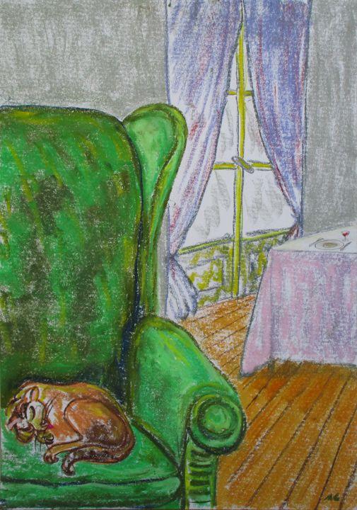 Le fauteuil vert au chat - Mathieu Correa de Sa