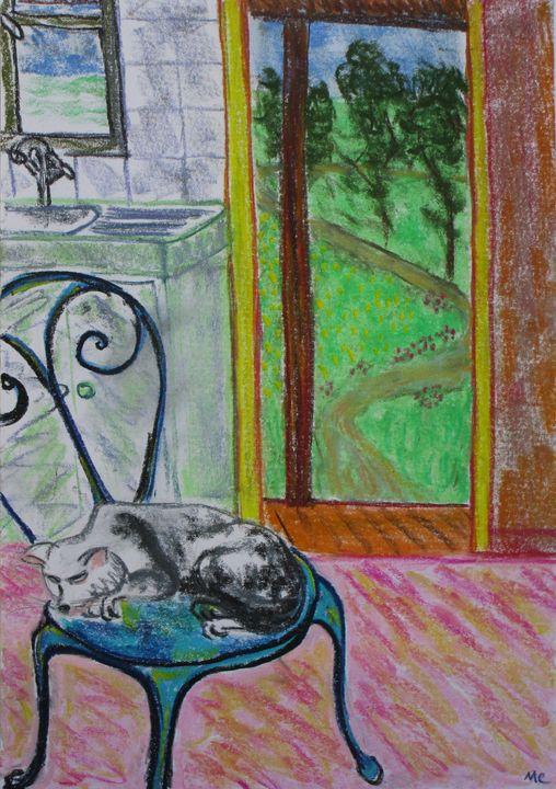 Chaise bleue au chat à la campagne - Mathieu Correa de Sa