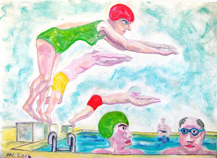 Les nageurs à la piscine - Mathieu Correa de Sa