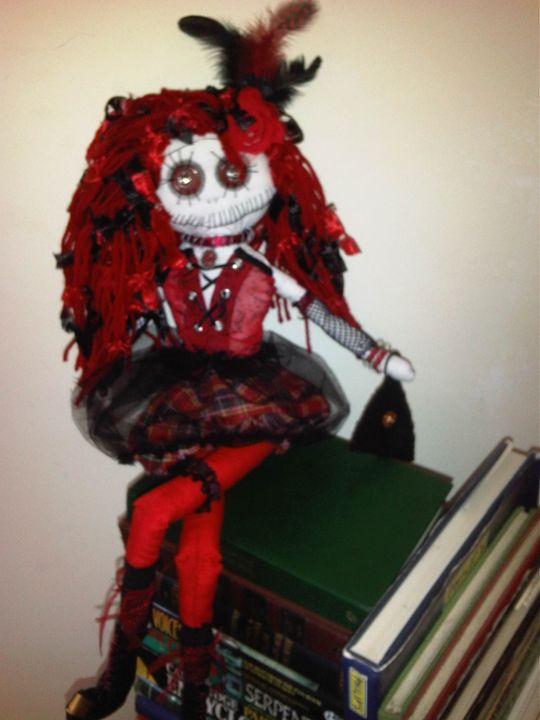 Marcia handmade gothic rag art doll - Dusk Till Dawns Dolls