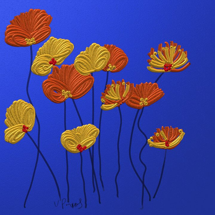 Red and yellow flowers - Vanesse purves art gallery