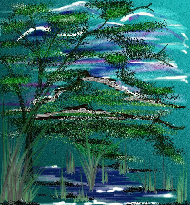 Tree in blue haze - Vanesse purves art gallery