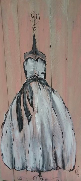 black and white dress on pink back g - Vanesse purves art gallery