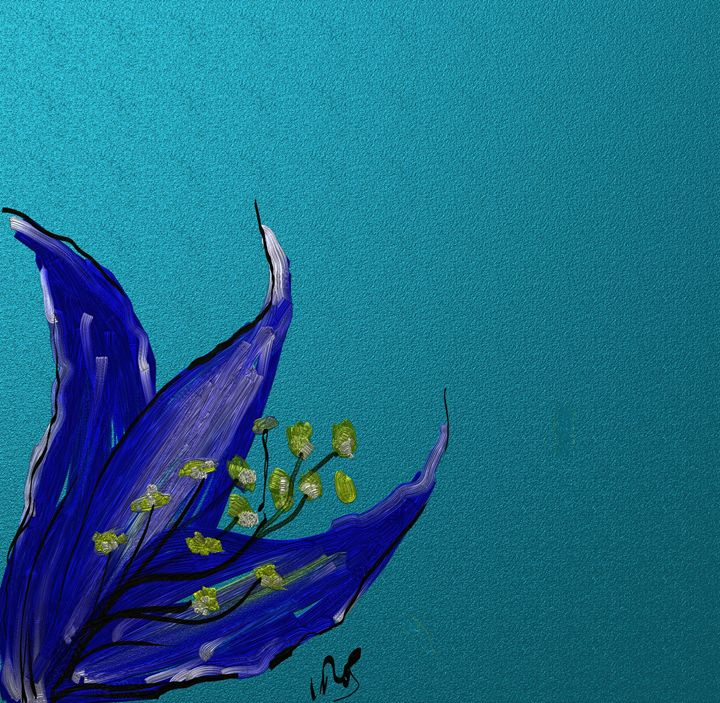 Blue lilly in the corner - Vanesse purves art gallery