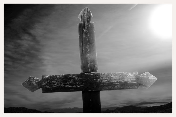 cross illuminated by sun, new mexico - Mark Goebel Photo Gallery