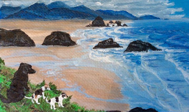 Dogs on the Oregon coast - Morgan McGuirk's Paintings