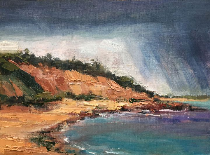 Rain over Red Bluff Cliffs - Roz McQuillan Paintings, Drawings & Photographs