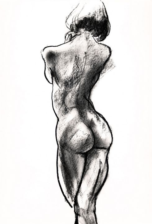 living female nude drawing
