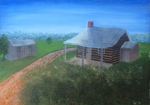 Log Cabin and Shed Print