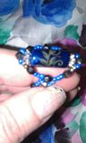 black and blue handmade beaded ring