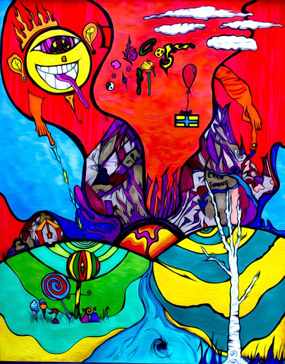 Vibrational World - Original Trippy Art