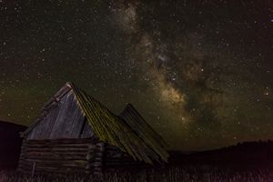 Montana Barn in the milky way