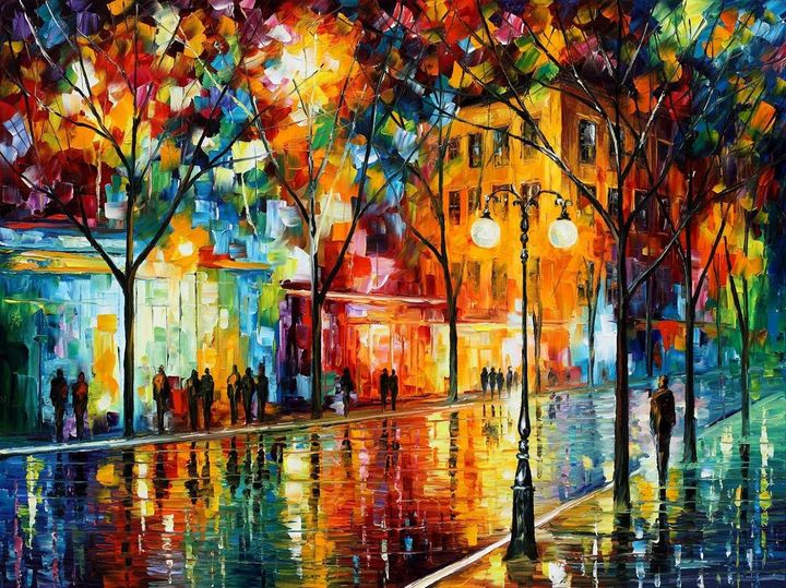 Inspirational Rain Water Oil Paintin - Ahsan Khan Arts