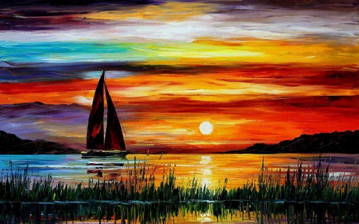Sunset At River - Ahsan Khan Arts