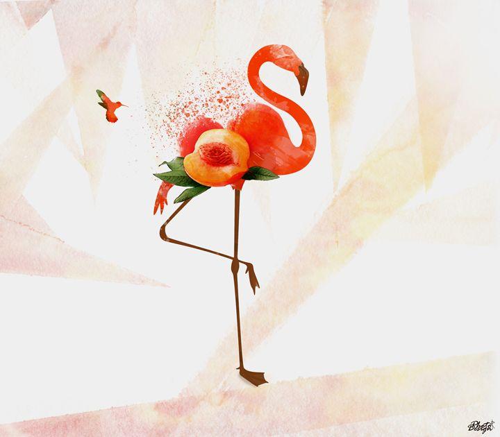Peach's Flamingo - Photo Design AJ