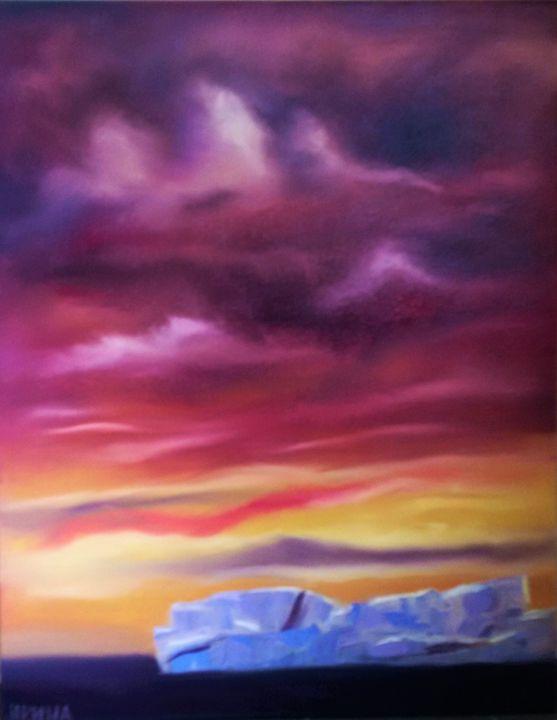 Iceberg on sunset - Oil on canvas pa - Abstract Flowers