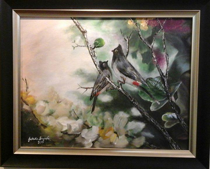 Birds bulbuly - Painting