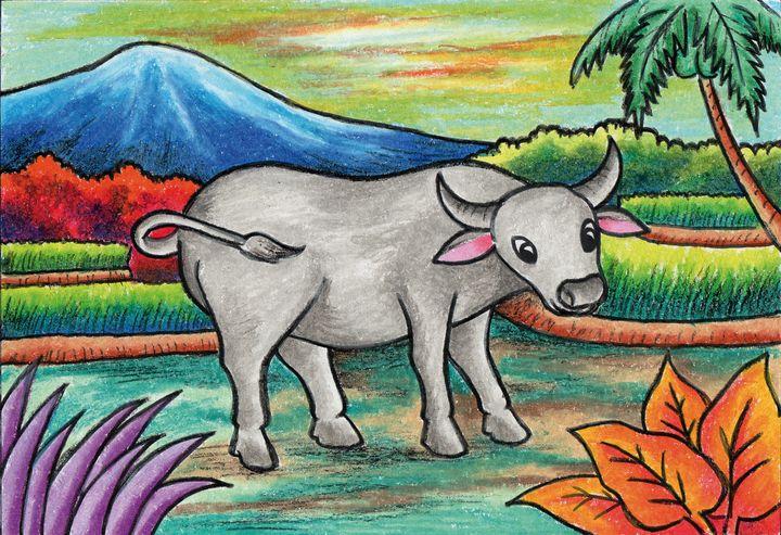 A Buffalo in the rice field - Tri Harianto