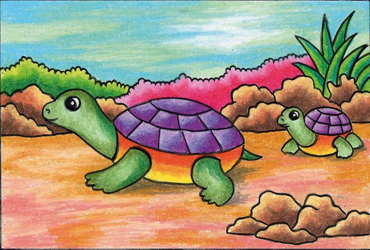 Turtle   Oil Pastel - Tri Harianto