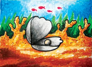 Shells and pearls | Oil Pastel