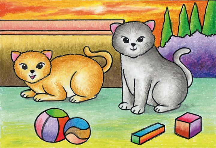 Two cute cats | Oil Pastel - Tri Harianto