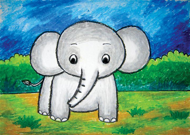 little elephant | oil pastel - Tri Harianto