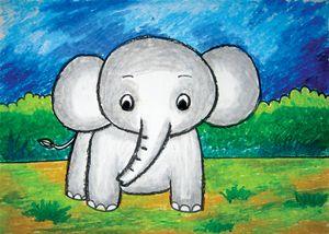 little elephant | oil pastel