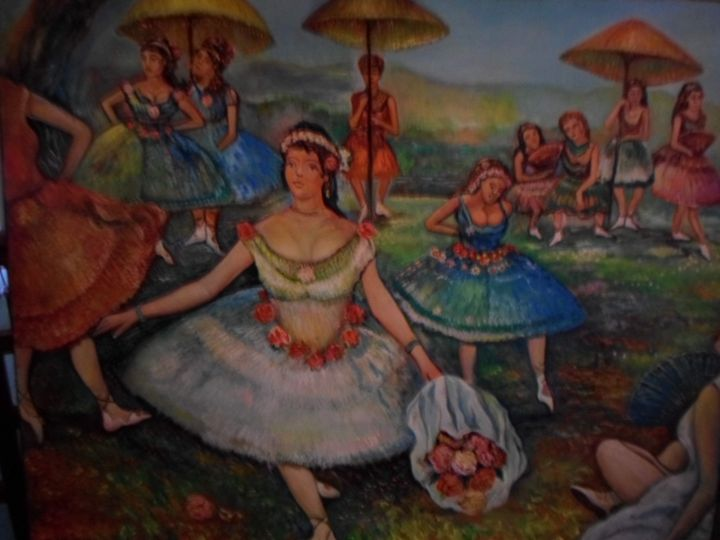 Ballerina with the bouquet  of flowe - Four Seasons -Artworld