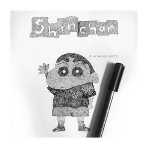 Shinchan Made Out Of Dots