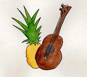 Hawaiian Pineapple and Ukulele