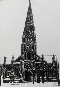 Church in the Snow - Pen Drawing