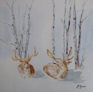 Snowy Deers in the Park
